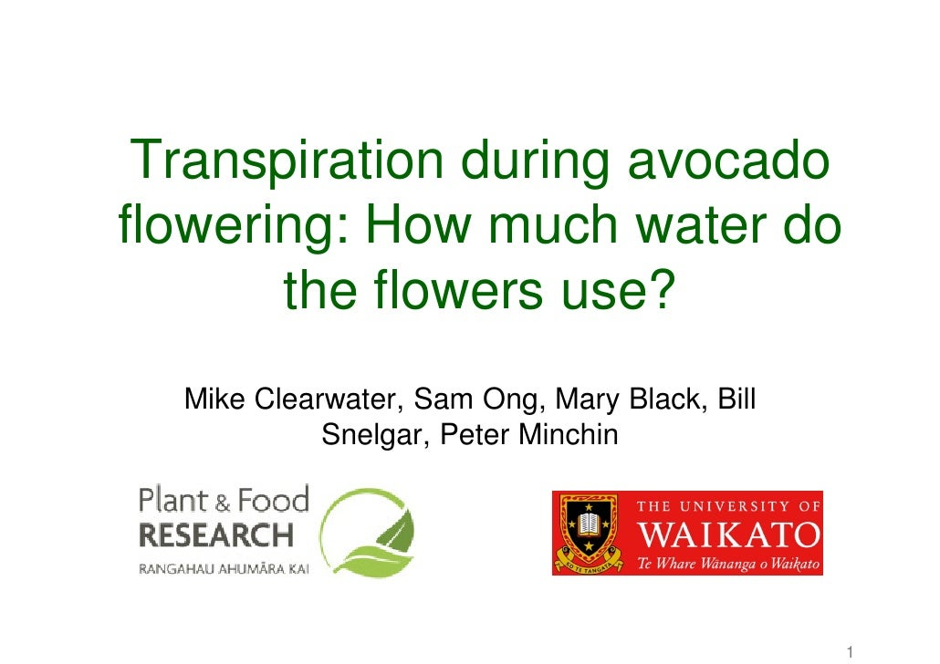 Transpiration during avocado flowering: How much water do        the flowers use?   Mike Clearwater, Sam Ong, Mary Black, ...