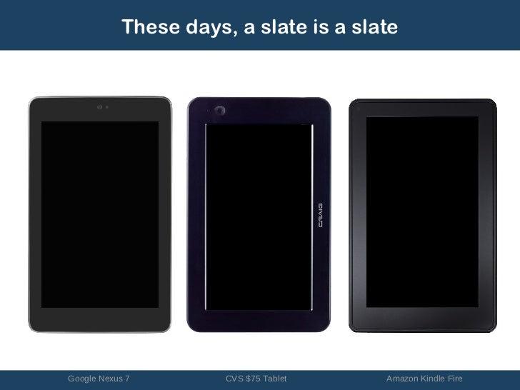 These days, a slate is a slateGoogle Nexus 7        CVS $75 Tablet   Amazon Kindle Fire