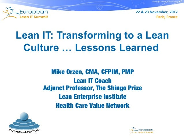 Copyright © Institut Lean France 2012                                     22 & 23 November, 2012                          ...