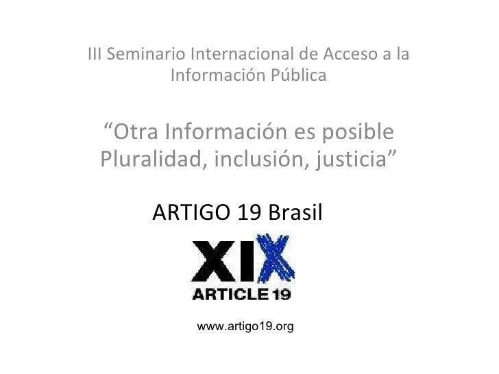 Artículo XIX. Brasil