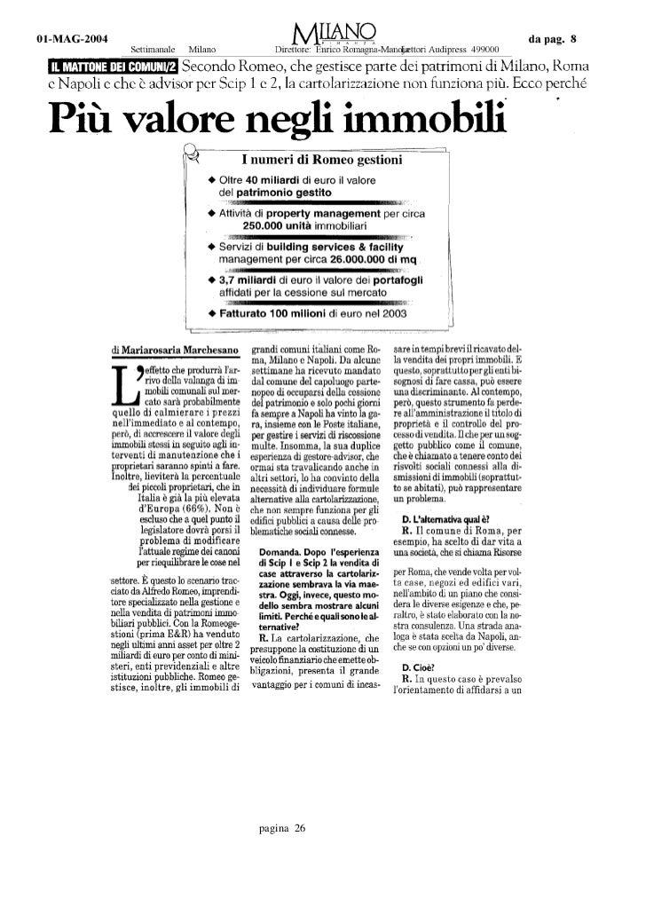 Milano finanza promuove Alfredo Romeo