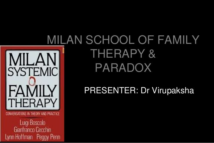 MILAN SCHOOL OF FAMILY       THERAPY &        PARADOX     PRESENTER: Dr Virupaksha