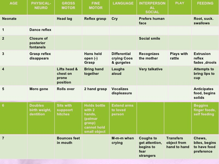 Child Motor Development Chart