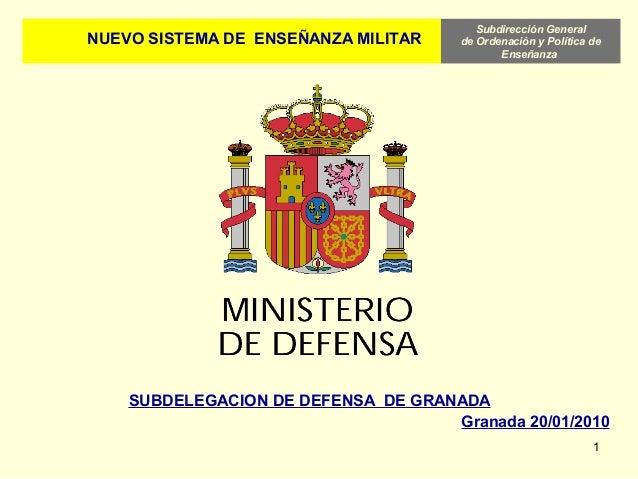 Subdirección General de Ordenación y Política de Enseñanza 1 NUEVO SISTEMA DE ENSEÑANZA MILITAR SUBDELEGACION DE DEFENSA D...