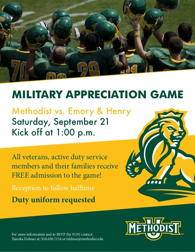 All veterans, active duty service members and their families receive FREE admission to the game! MILITARY APPRECIATION GAM...