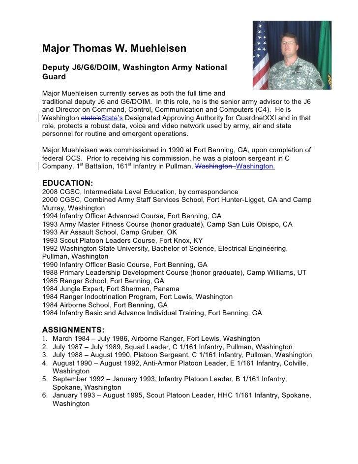 Major Thomas W. Muehleisen Deputy J6/G6/DOIM, Washington Army National Guard  Major Muehleisen currently serves as both th...