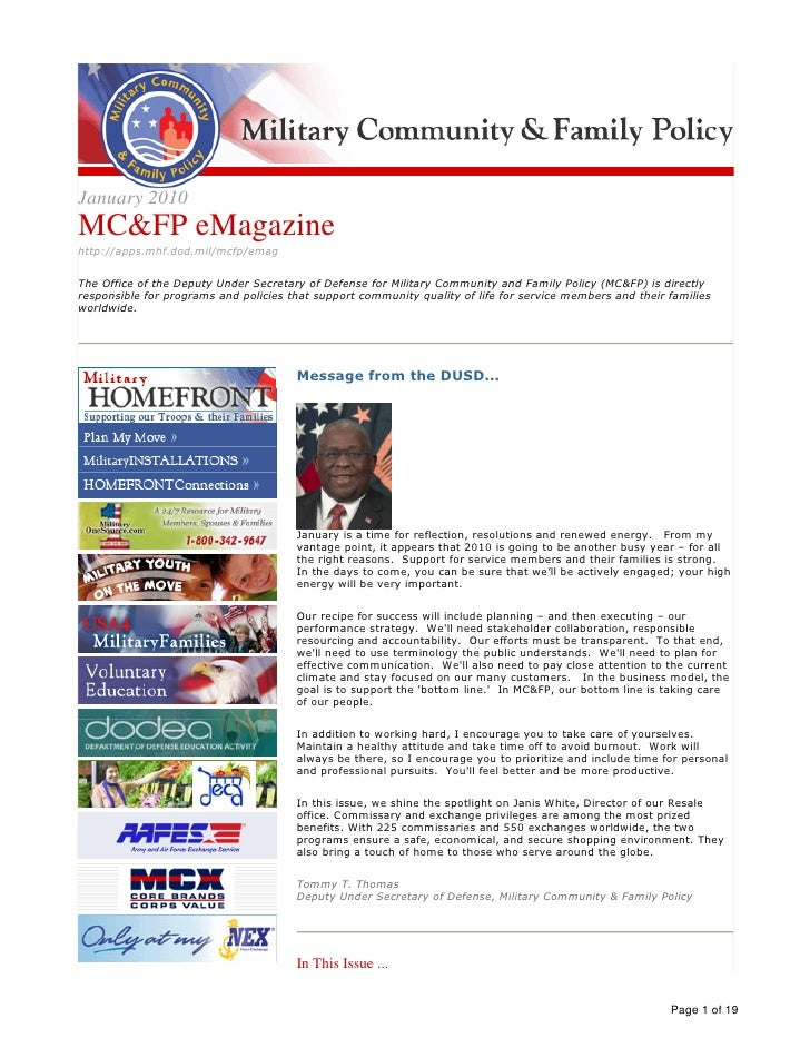 Military Community And Familiy Policy E Magazine Jan 2010