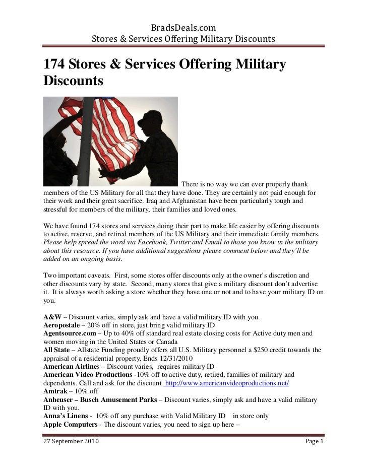 BradsDeals.com                Stores & Services Offering Military Discounts174 Stores & Services Offering MilitaryDiscount...