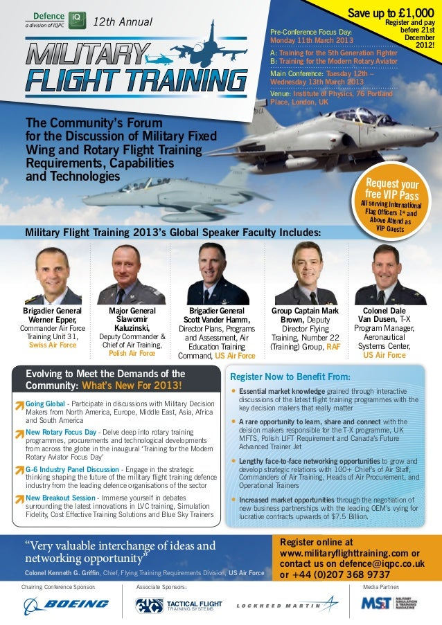 Military flight training 2013 conference brochure