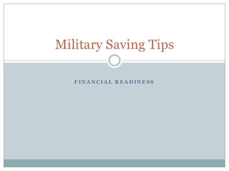 Military Saving Tips 2012