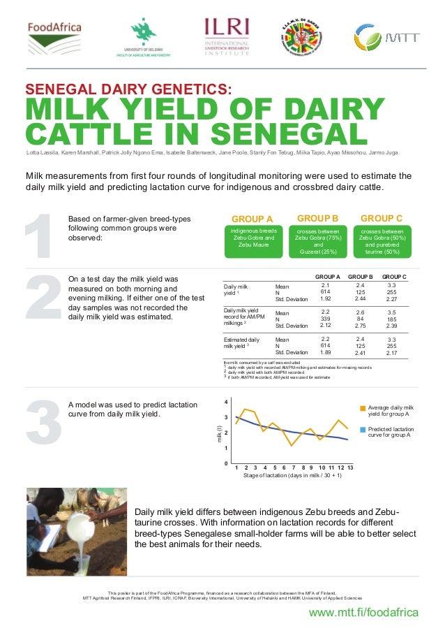 MILK YIELD OF DAIRY CATTLE IN SENEGAL www.mtt.fi/foodafrica SENEGAL DAIRY GENETICS: Based on farmer-given breed-types foll...