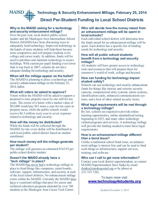 Technology & Security Enhancement Millage, February 25, 2014  Direct Per-Student Funding to Local School Districts Why is ...