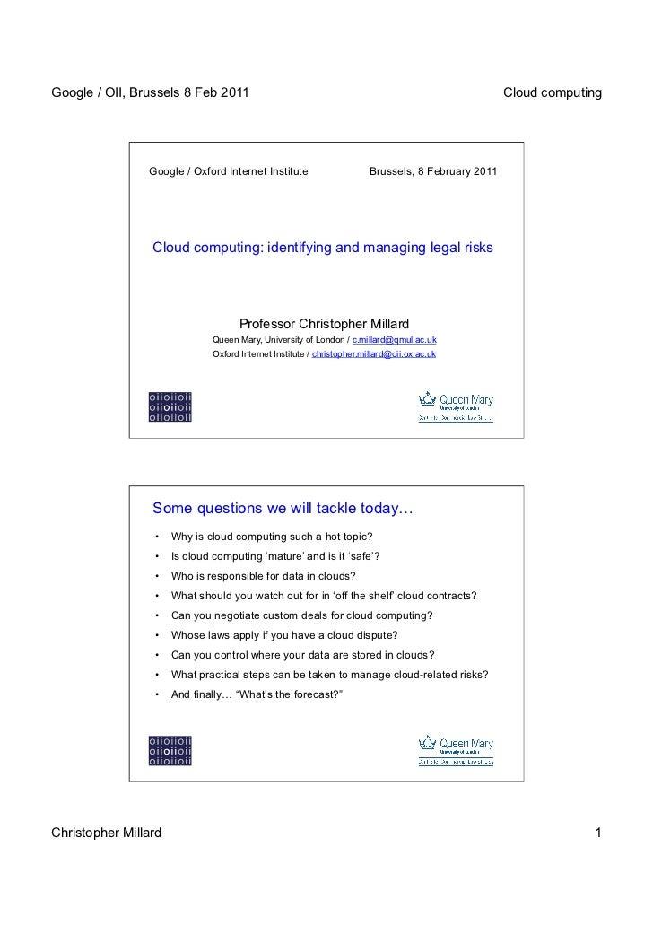 Google / OII, Brussels 8 Feb 2011                                                                  Cloud computing        ...
