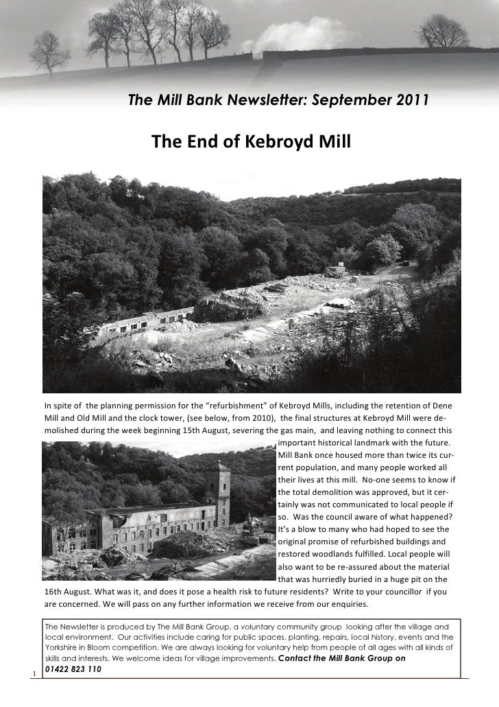 The Mill Bank Newsletter: September 2011                                  The End of Kebroyd Mill           In spite of  t...