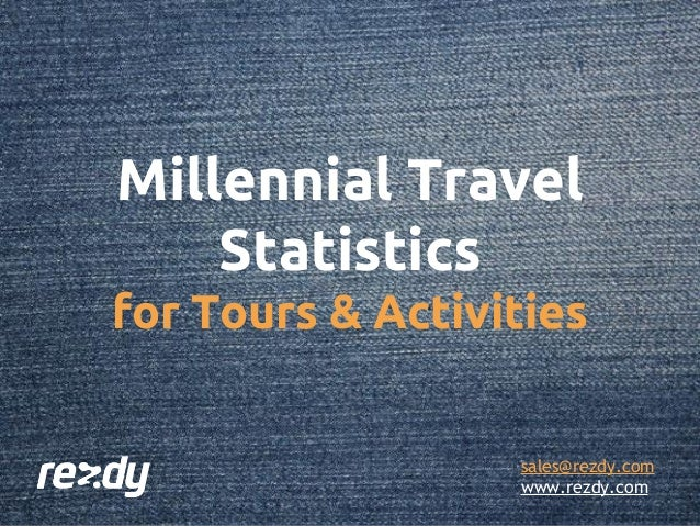 Millennial Travel Statistics for Tours & Activities sales@rezdy.com www.rezdy.com