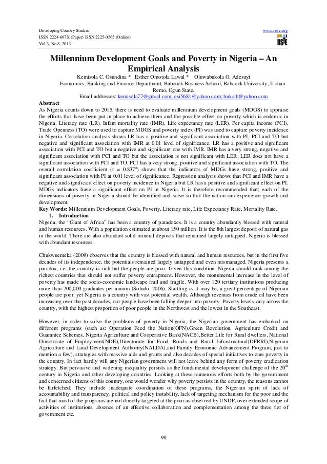 Developing Country Studies www.iiste.org ISSN 2224-607X (Paper) ISSN 2225-0565 (Online) Vol.3, No.8, 2013 98 Millennium De...