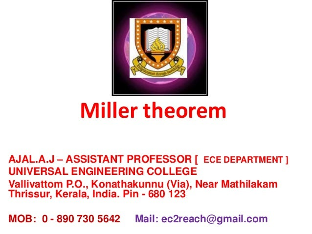 Miller theorem AJAL.A.J – ASSISTANT PROFESSOR [ ECE DEPARTMENT ] UNIVERSAL ENGINEERING COLLEGE Vallivattom P.O., Konathaku...