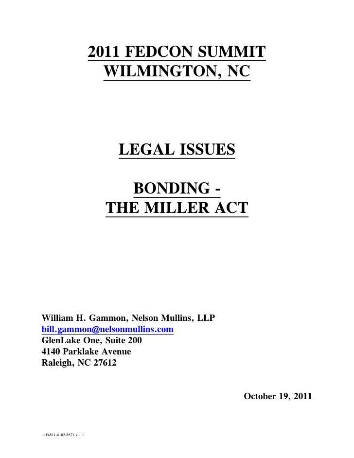2011 FEDCON SUMMIT                          WILMINGTON, NC                           LEGAL ISSUES                         ...