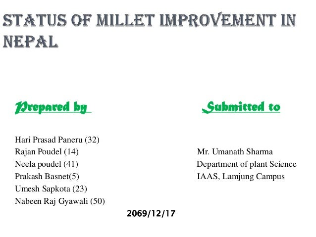 Millet research status and breeding program mes in Nepal