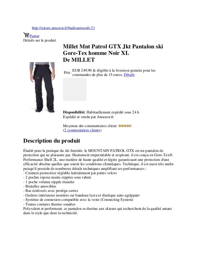 http://astore.amazon.fr/budisantosodi-21PanierDétails sur le produitMillet Mnt Patrol GTX Jkt Pantalon skiGore-Tex homme N...