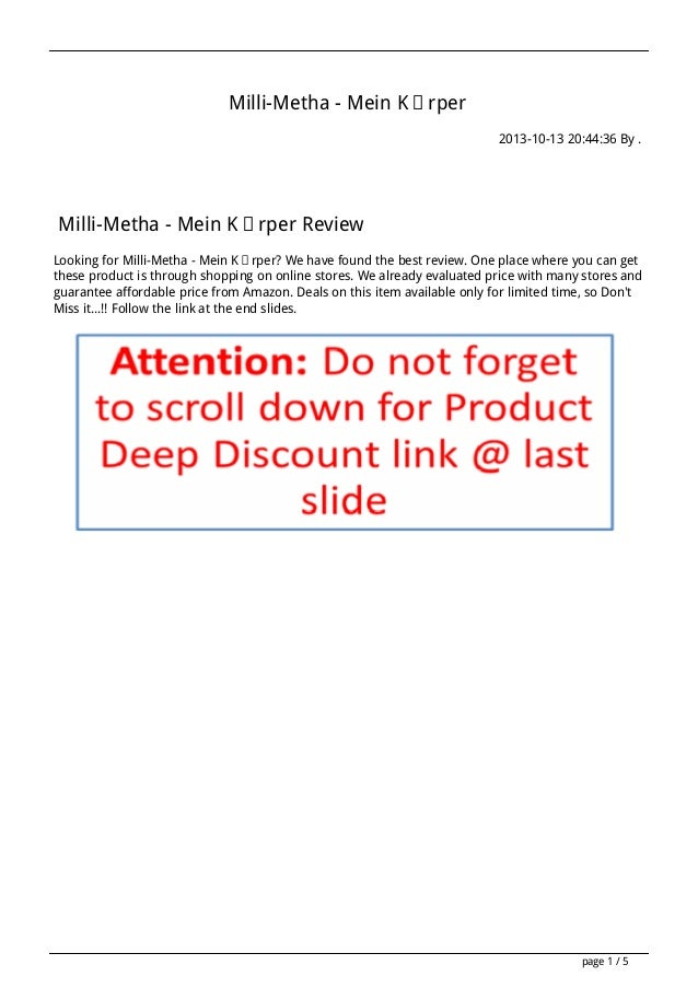 Milli-Metha - Mein Körper 2013-10-13 20:44:36 By .  Milli-Metha - Mein Körper Review Looking for Milli-Metha - Mein Körper...