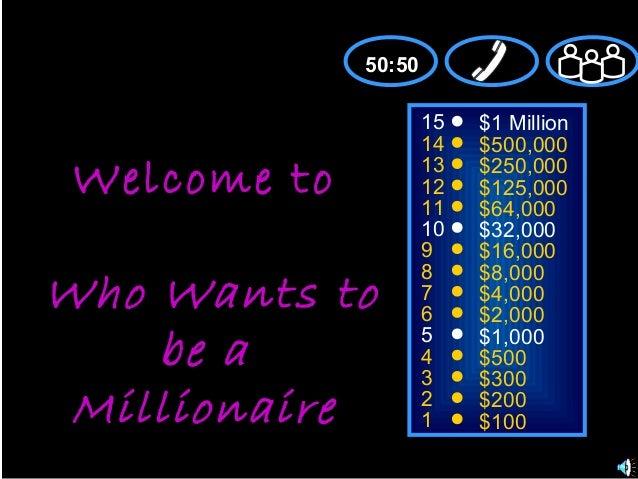 151413121110987654321$1 Million$500,000$250,000$125,000$64,000$32,000$16,000$8,000$4,000$2,000$1,000$500$300$200$100Welcom...
