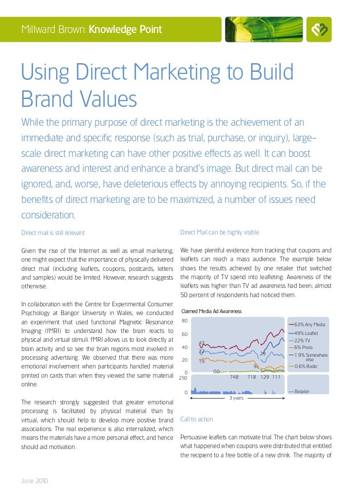 Millward Brown: Knowledge PointUsing Direct Marketing to BuildBrand ValuesWhile the primary purpose of direct marketing is...