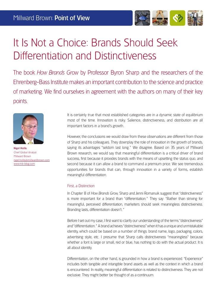 Brands Should Seek Differentiation and Distinctiveness