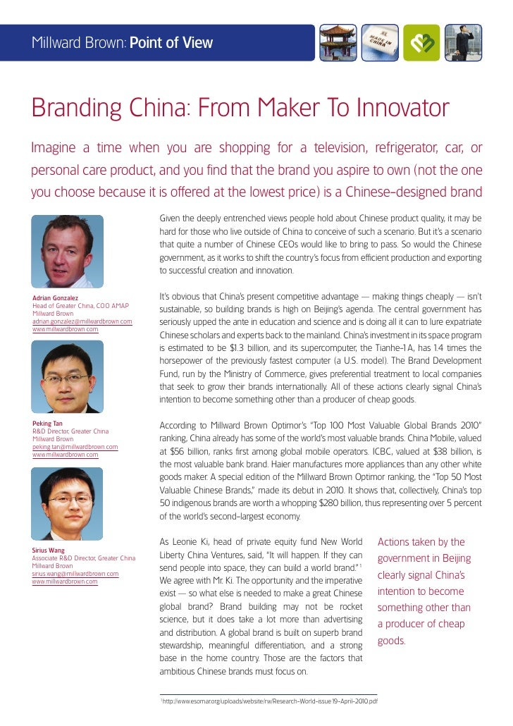 Millward Brown: Point of ViewBranding China: From Maker To InnovatorImagine a time when you are shopping for a television,...