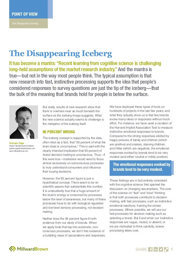 1 POINT OF VIEW The Disappearing Iceberg SHARE But really, results of new research show that there is nowhere near as much...