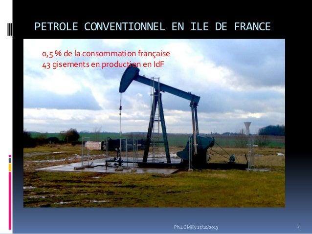 PETROLE CONVENTIONNEL EN ILE DE FRANCE 0,5 % de la consommation française 43 gisements en production en IdF  Ph.LC Milly 1...