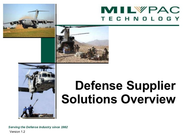 Defense Supplier Solutions Overview Version 1.2