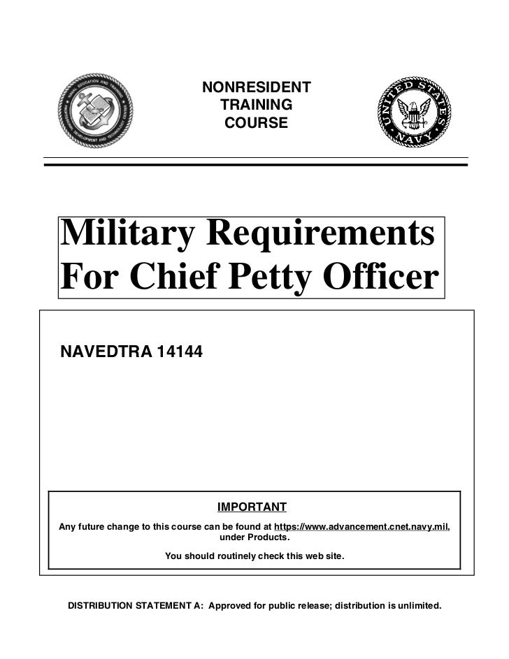 CPO MANAGEMENT INFO (E7 Bibs Chapter 4 of Mil Reqs for CPO) NAVEDTRA 14144