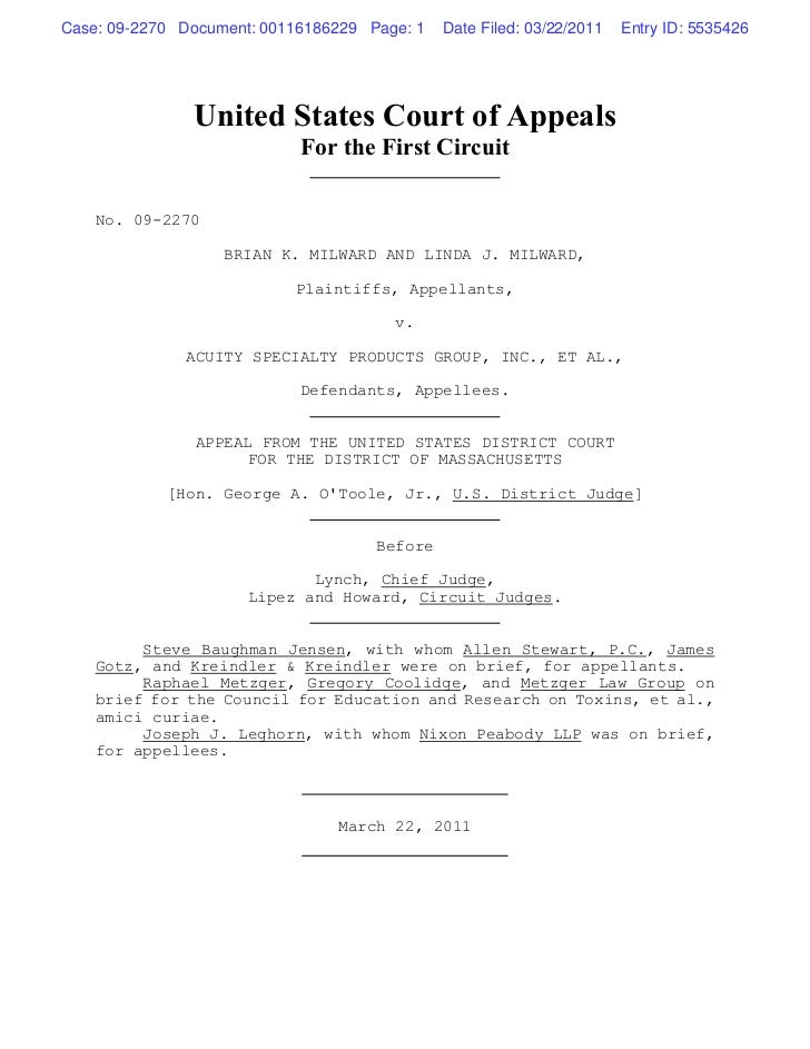 Case: 09-2270 Document: 00116186229 Page: 1   Date Filed: 03/22/2011   Entry ID: 5535426               United States Court...