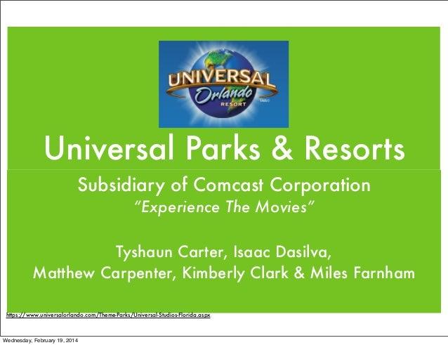 "Universal Parks & Resorts Subsidiary of Comcast Corporation ""Experience The Movies"" Tyshaun Carter, Isaac Dasilva, Matthew..."