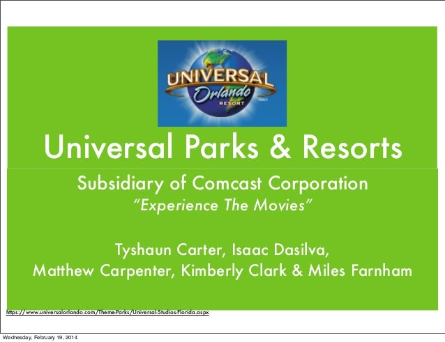 "Universal Parks & Resorts Subsidiary of Comcast Corporation ""Experience The Movies"" Tyshaun Carter, Isaac Dasilva, Matthew..."