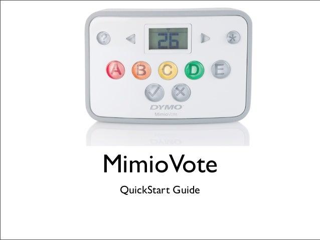 Mimio vote quick start