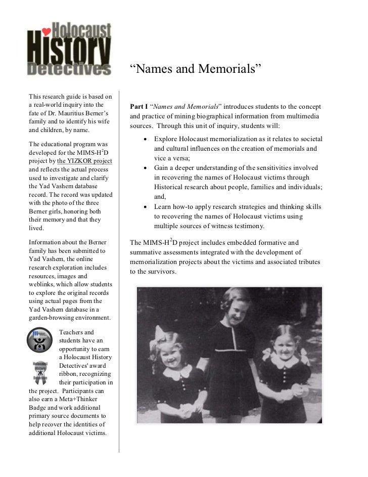 MIMS-H2D Names and Memorials