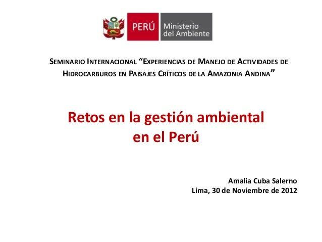 """SEMINARIO INTERNACIONAL """"EXPERIENCIAS DE MANEJO DE ACTIVIDADES DE   HIDROCARBUROS EN PAISAJES CRÍTICOS DE LA AMAZONIA ANDI..."""