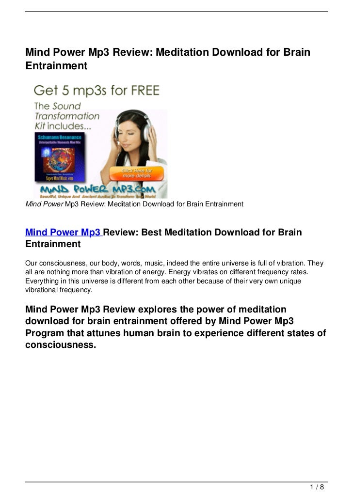 Mind Power Mp3 Review: Meditation Download for Brain Entrainment