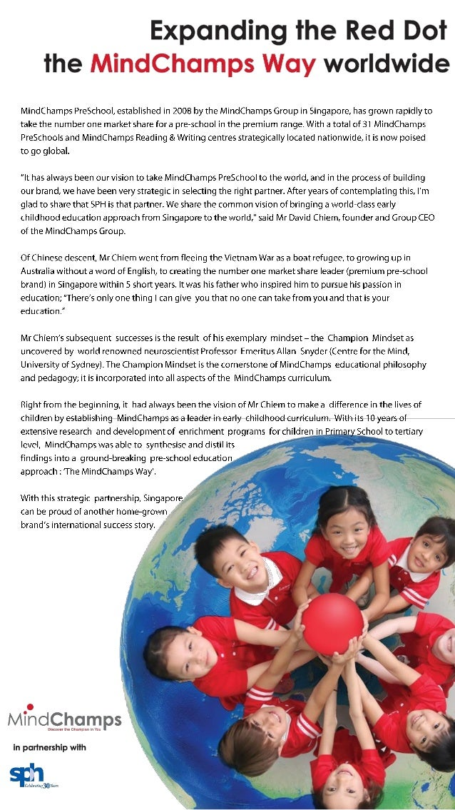 Mind champs goes global with PreSchool, in partnership with SPH