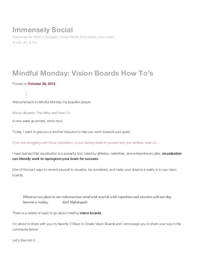 Mindful monday: vision boards how to's immensely social