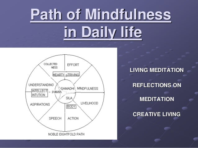 Path of Mindfulness in Daily life LIVING MEDITATION REFLECTIONS ON MEDITATION CREATIVE LIVING