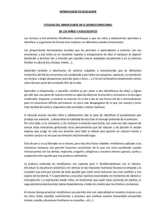MINDFULNESS EN EDUCACION UTILIDAD DEL MINDFULNESS EN EL MUNDO EMOCIONAL DE LOS NIÑOS Y ADOLESCENTES Las técnicas y herrami...