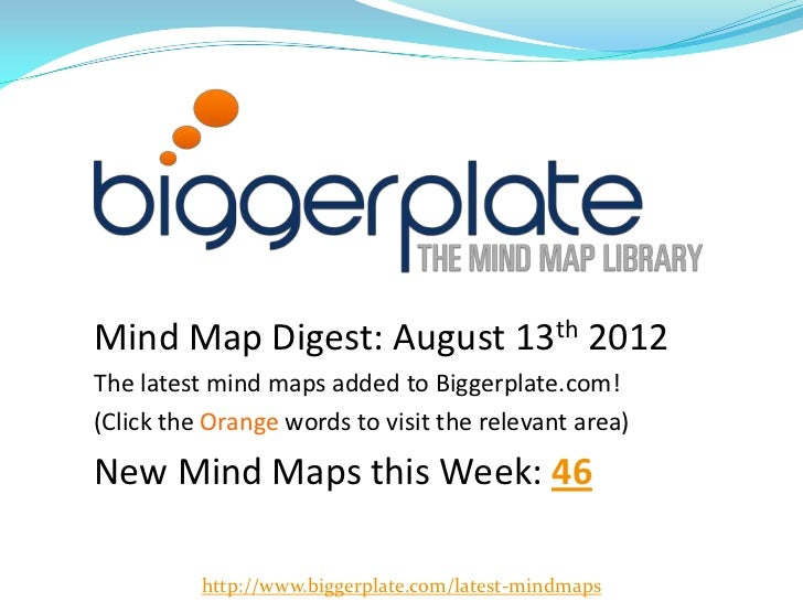 Mind Map Digest: August 13th 2012The latest mind maps added to Biggerplate.com!(Click the Orange words to visit the releva...