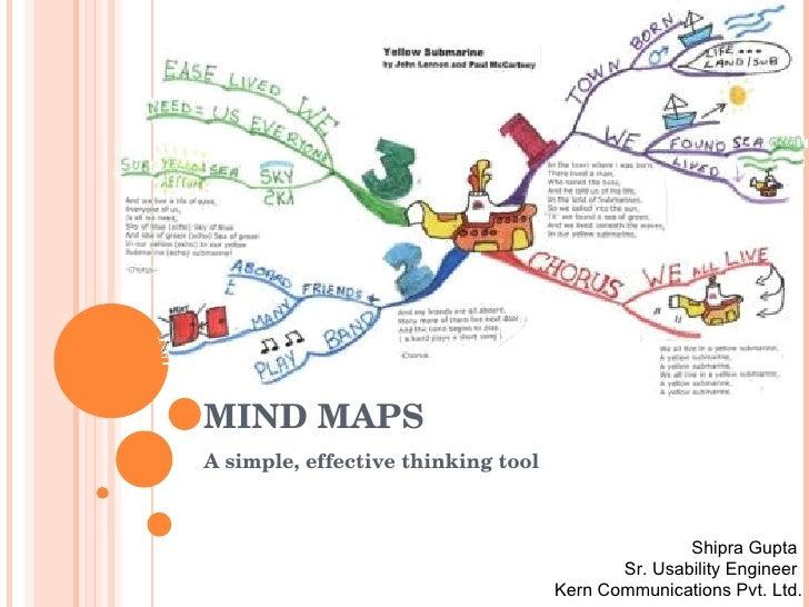 MIND MAPS A simple, effective thinking tool Shipra Gupta  Sr. Usability Engineer  Kern Communications Pvt. Ltd.