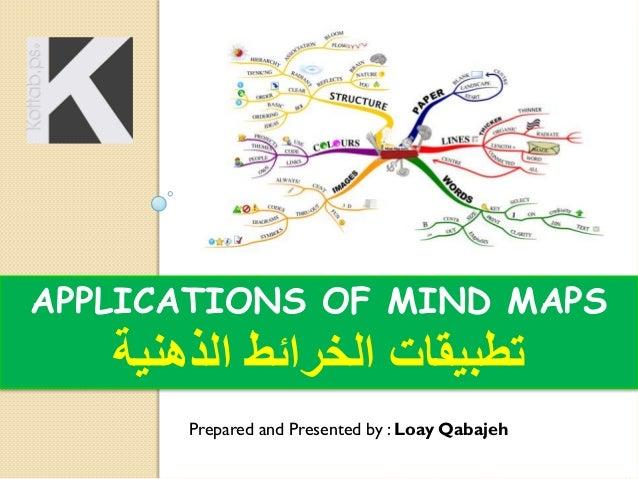 APPLICATIONS OF MIND MAPS  تطبيقات الخرائط الذهنية Prepared and Presented by : Loay Qabajeh