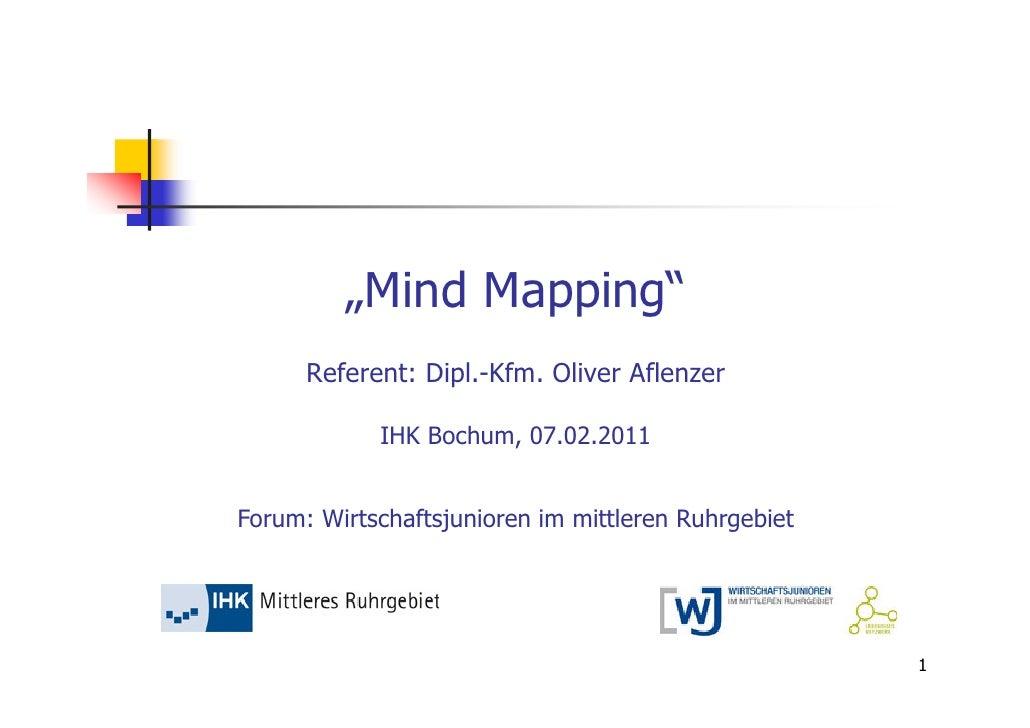 """""""Mind Mapping""""      Referent: Dipl.-Kfm. Oliver Aflenzer            IHK Bochum, 07.02.2011Forum: Wirtschaftsjunioren im mi..."""