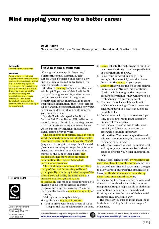 Mind mapping your way to a better career David Pollitt News section Editor ± Career Development International, Bradford, U...