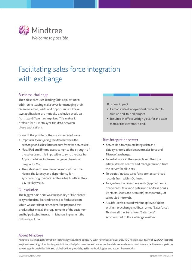 Facilitating sales force integration with exchange Business challenge The sales team uses leading CRM application in addit...